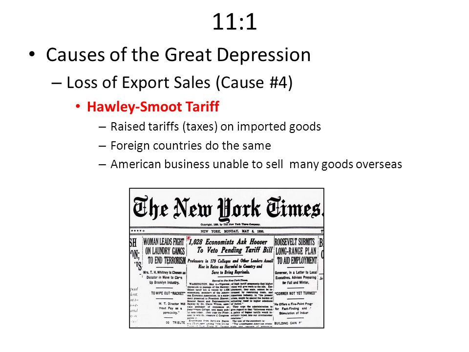 11:1 Causes of the Great Depression Loss of Export Sales (Cause #4)