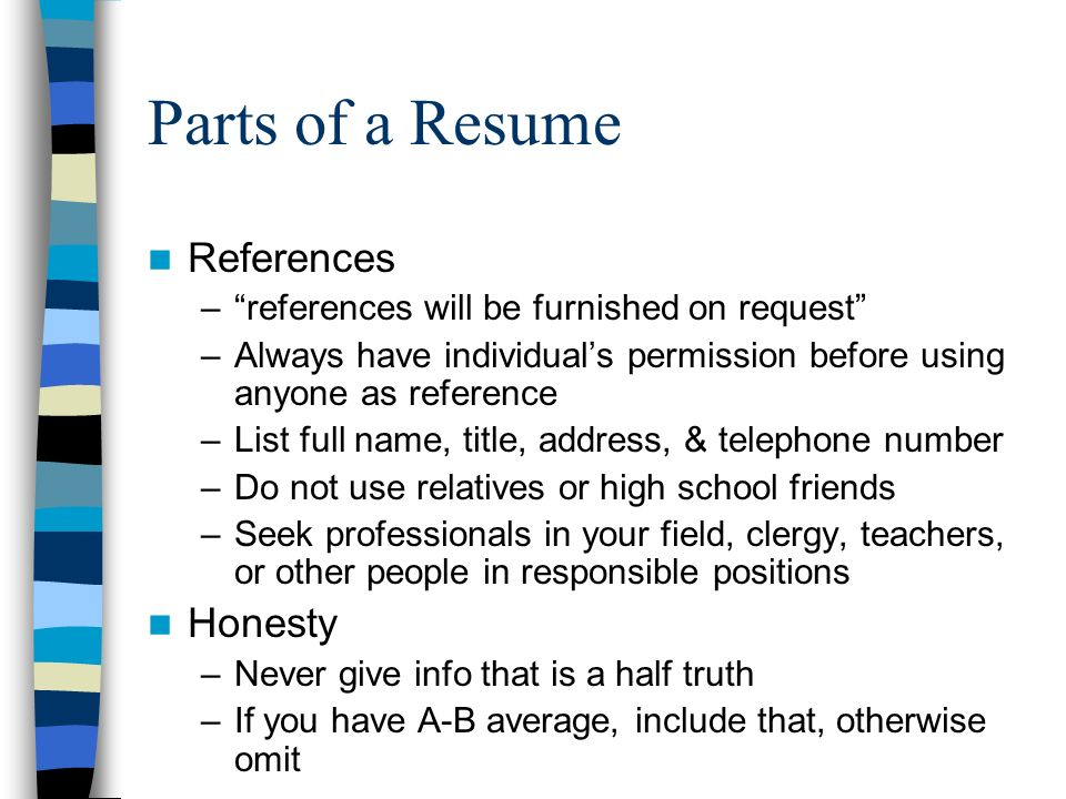 parts of a resume references honesty - Resume References