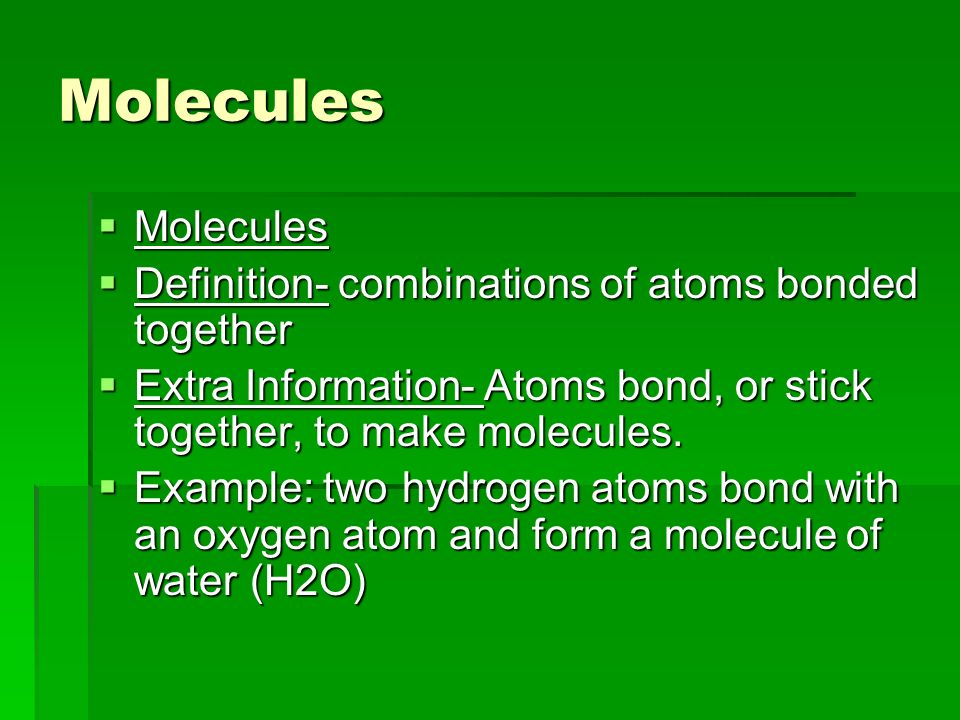 A definition of element atom compound molecule and trace element