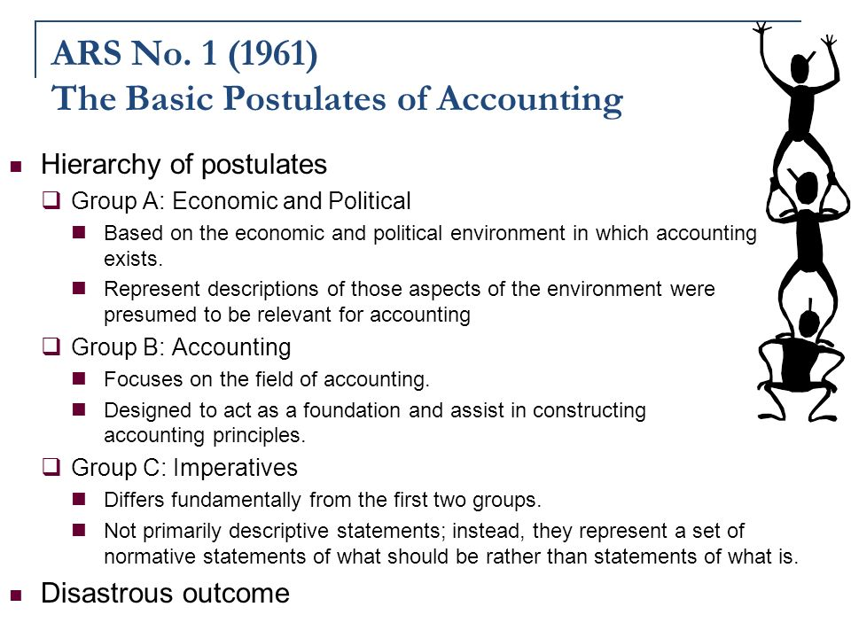 accounting postulates Postulates and principles of accounting let me be clear as to why the postulates and principles of accounting are addressed in a stock and money website it's because investors can no longer take a passive role with their investments investors need to understand the finances of the companies in which they own stock.