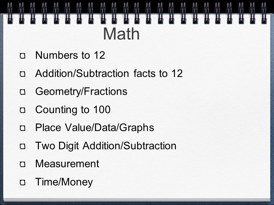 Math Numbers to 12 Addition/Subtraction facts to 12 Geometry/Fractions