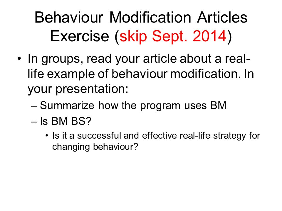 behaviour modification research paper Your behavior modification term paper example free sample term paper on behaviour modification topics and ideas for students.