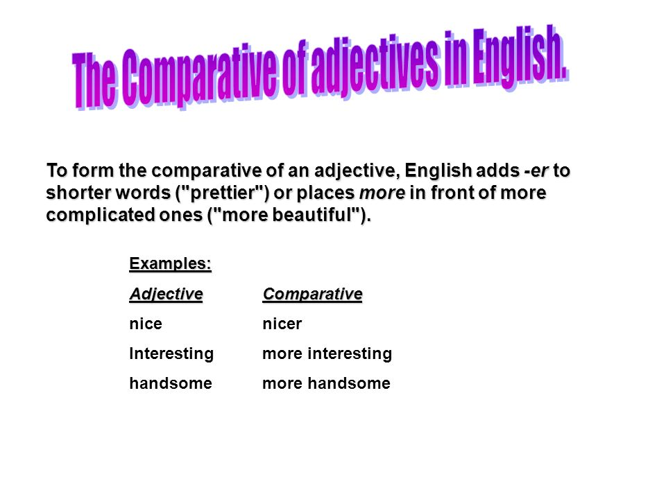 The Comparative of adjectives in English.