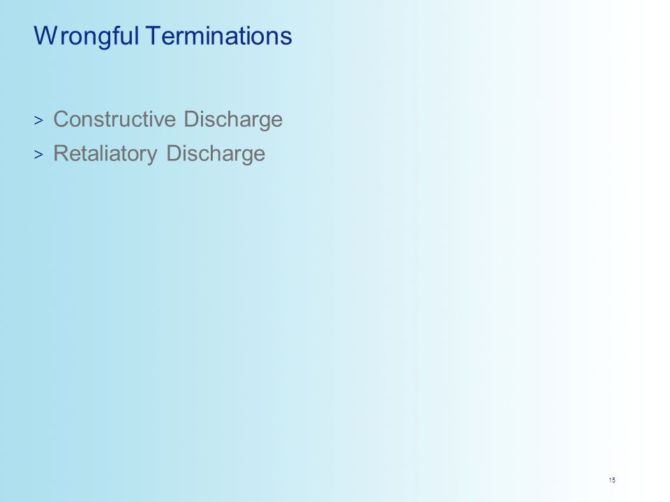 constructive discharge case essay A custom essay sample on if the employee does not to drop the lawsuit, there are past precedents showing that their lawsuit, based on constructive discharge.