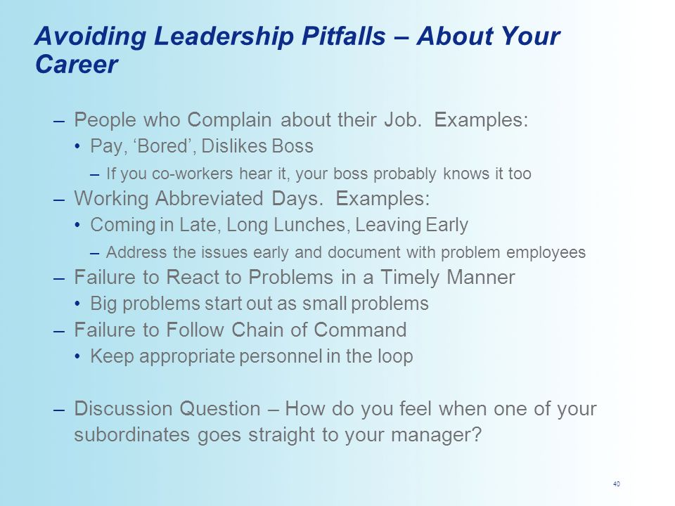 pitfalls in a leadership role Advantages and disadvantages of situational leadership benefits of situational leadership  these leaders may create the roles and objectives for others, but they .