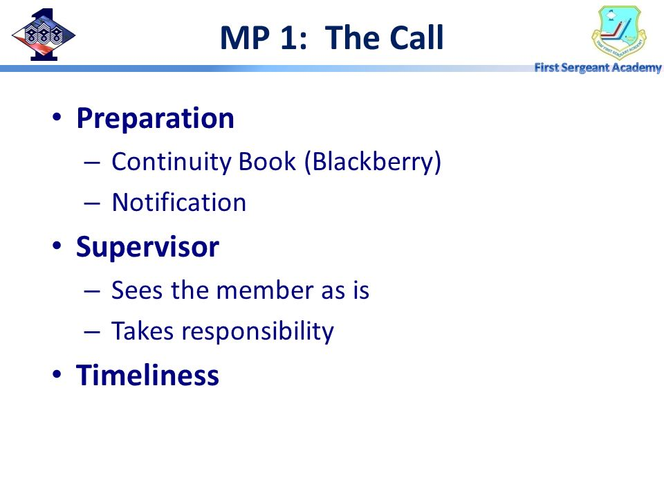 MP 1: The Call Preparation Supervisor Timeliness