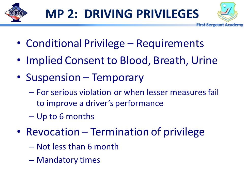 MP 2: DRIVING PRIVILEGES