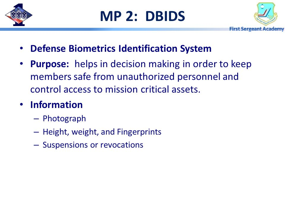 MP 2: DBIDS Defense Biometrics Identification System