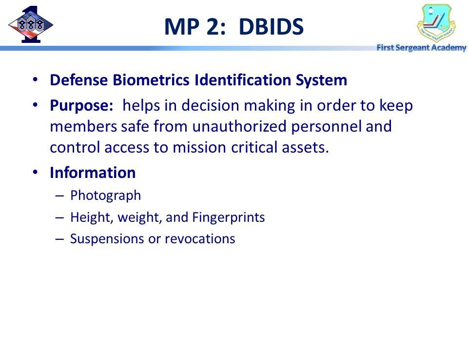 MP 2: DBIDS Defense Biometrics Identification System
