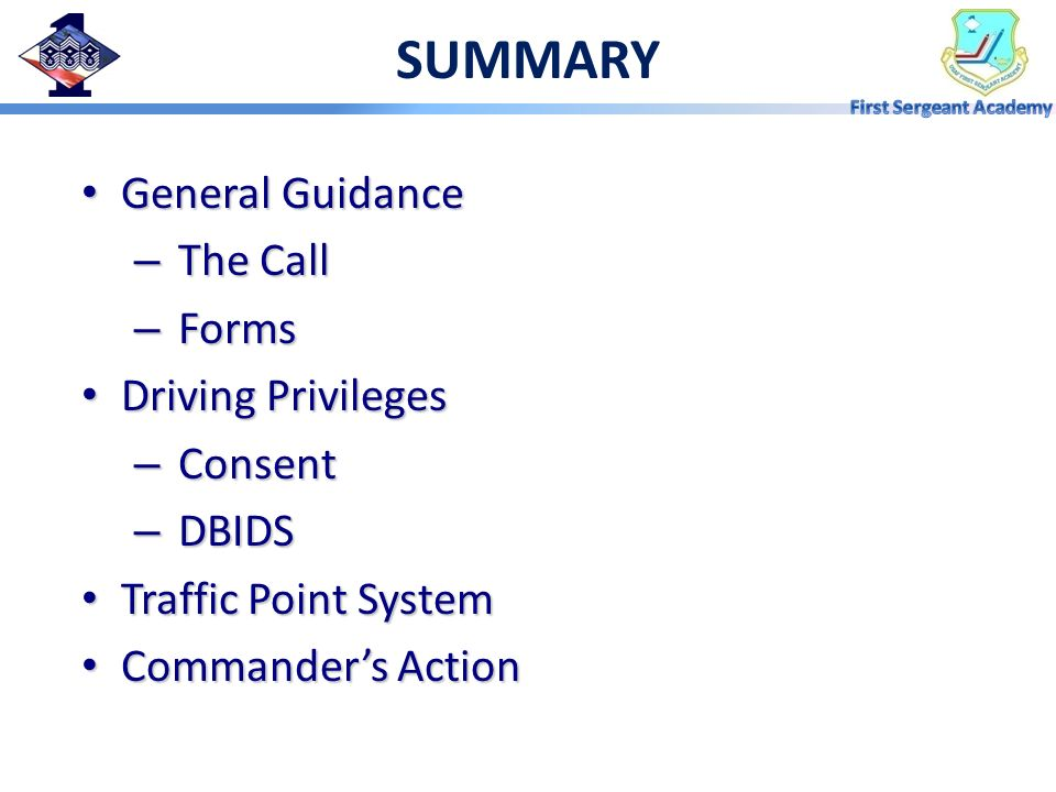 SUMMARY General Guidance The Call Forms Driving Privileges Consent