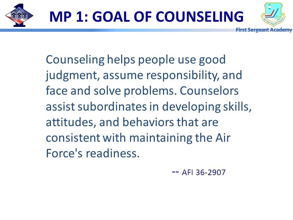 MP 1: GOAL OF COUNSELING