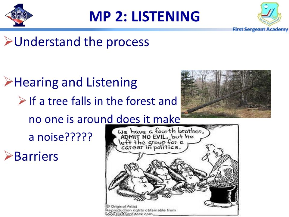 MP 2: LISTENING Understand the process Hearing and Listening Barriers
