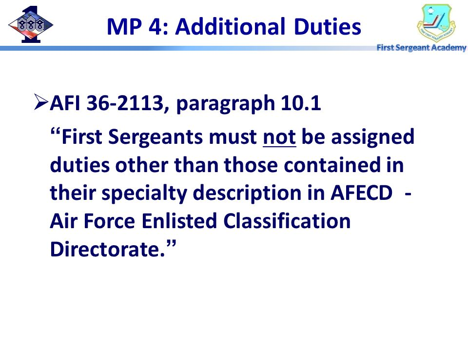 MP 4: Additional Duties AFI 36-2113, paragraph 10.1