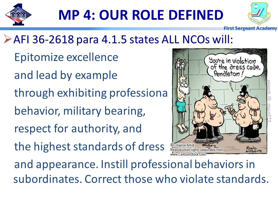 MP 4: OUR ROLE DEFINED AFI 36-2618 para 4.1.5 states ALL NCOs will:
