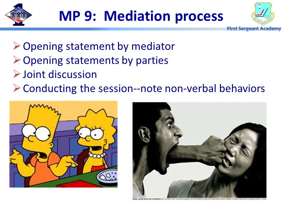 MP 9: Mediation process Opening statement by mediator