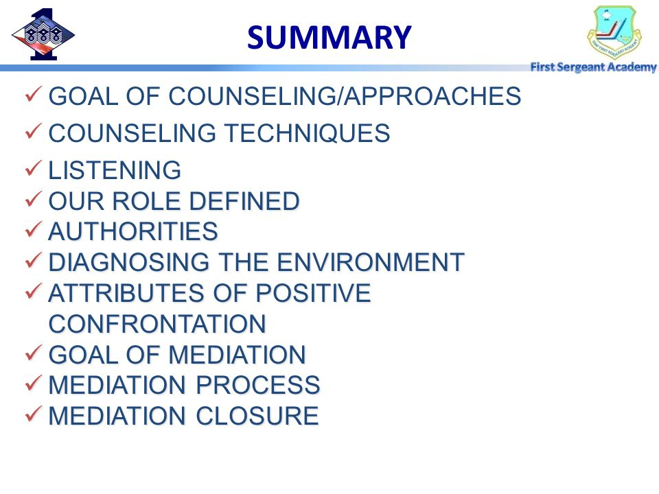 SUMMARY GOAL OF COUNSELING/APPROACHES COUNSELING TECHNIQUES LISTENING