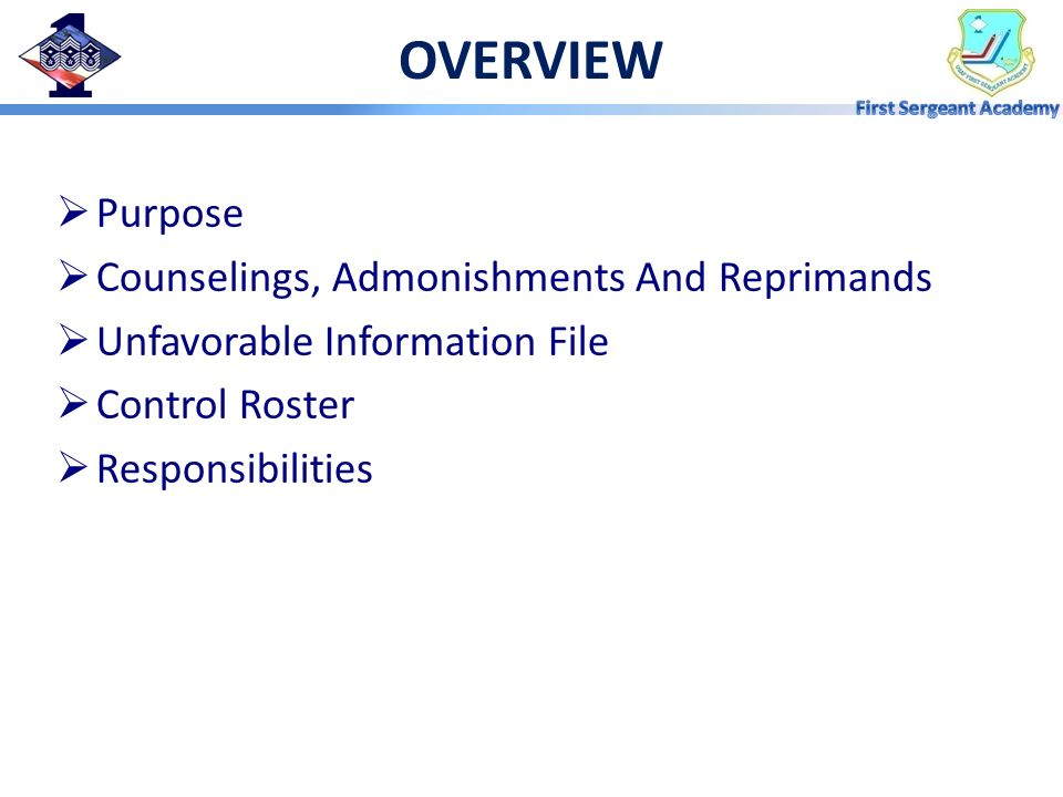 OVERVIEW Purpose Counselings, Admonishments And Reprimands