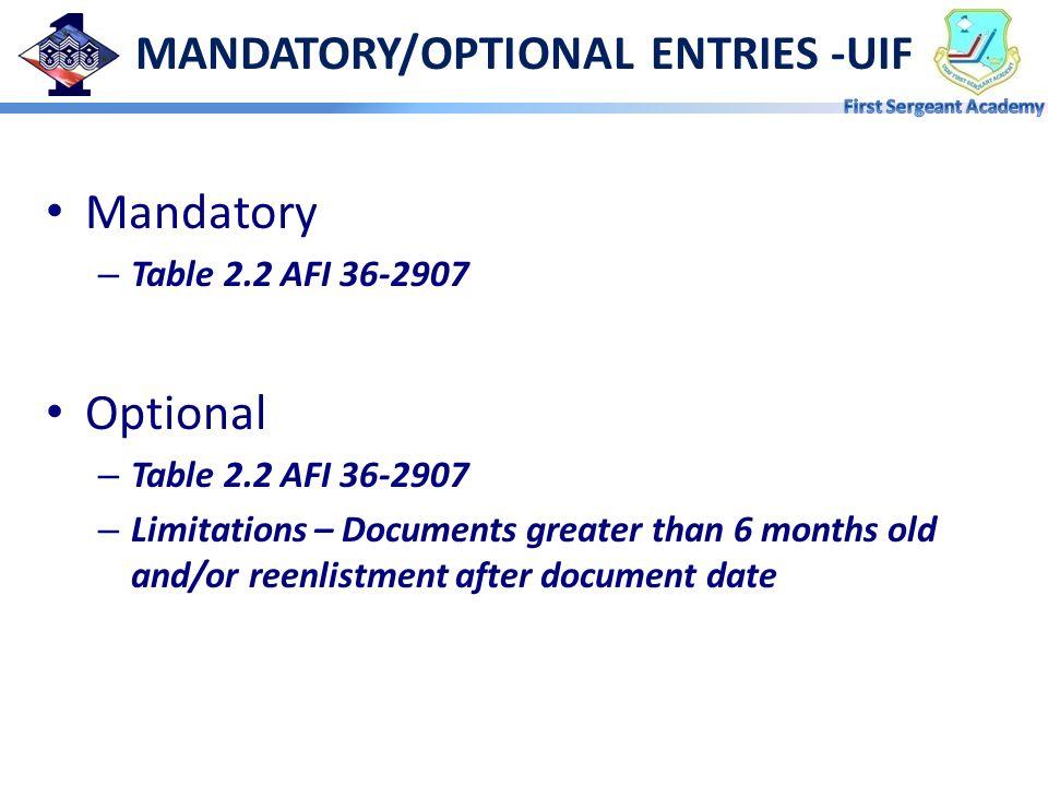 MANDATORY/OPTIONAL ENTRIES -UIF