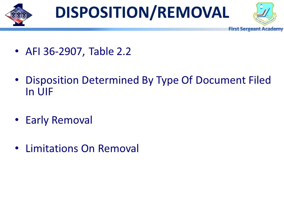 DISPOSITION/REMOVAL AFI , Table 2.2