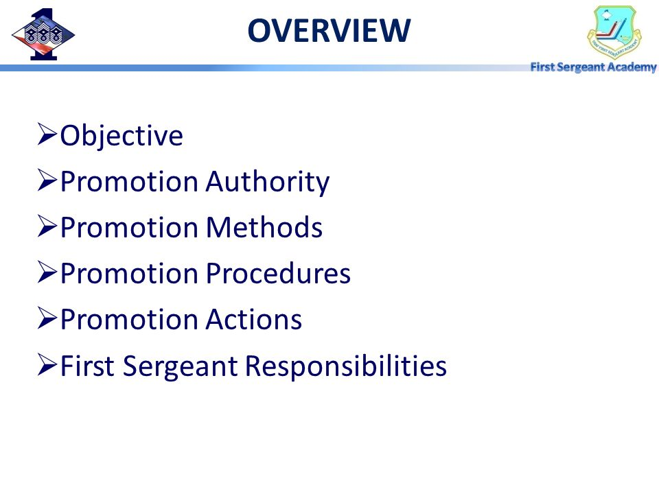 OVERVIEW Objective Promotion Authority Promotion Methods