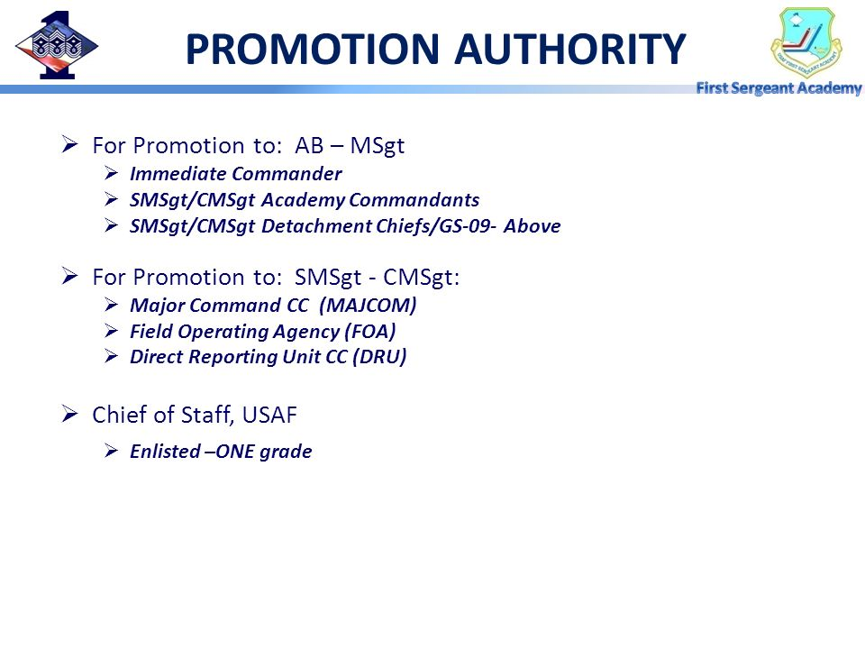 PROMOTION AUTHORITY For Promotion to: AB – MSgt