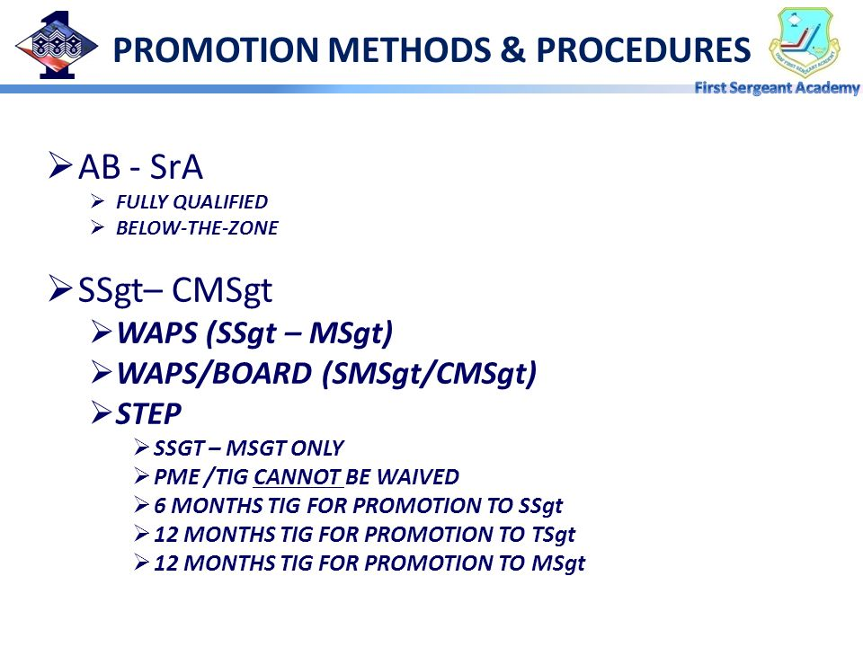 PROMOTION METHODS & PROCEDURES