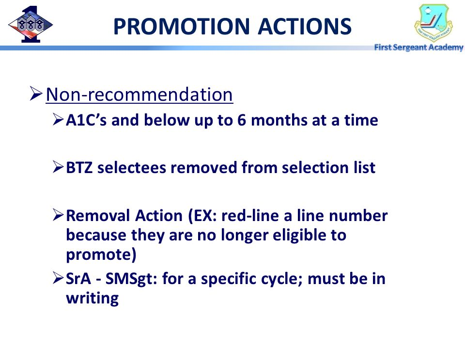 PROMOTION ACTIONS Non-recommendation