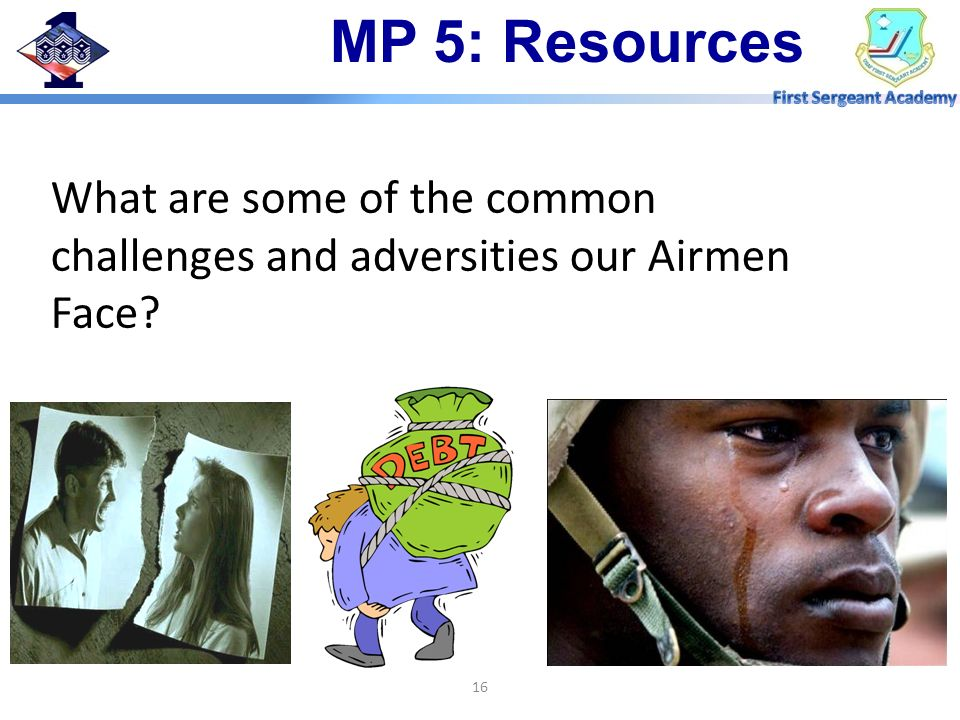 MP 5: Resources What are some of the common challenges and adversities our Airmen Face - Deployments.