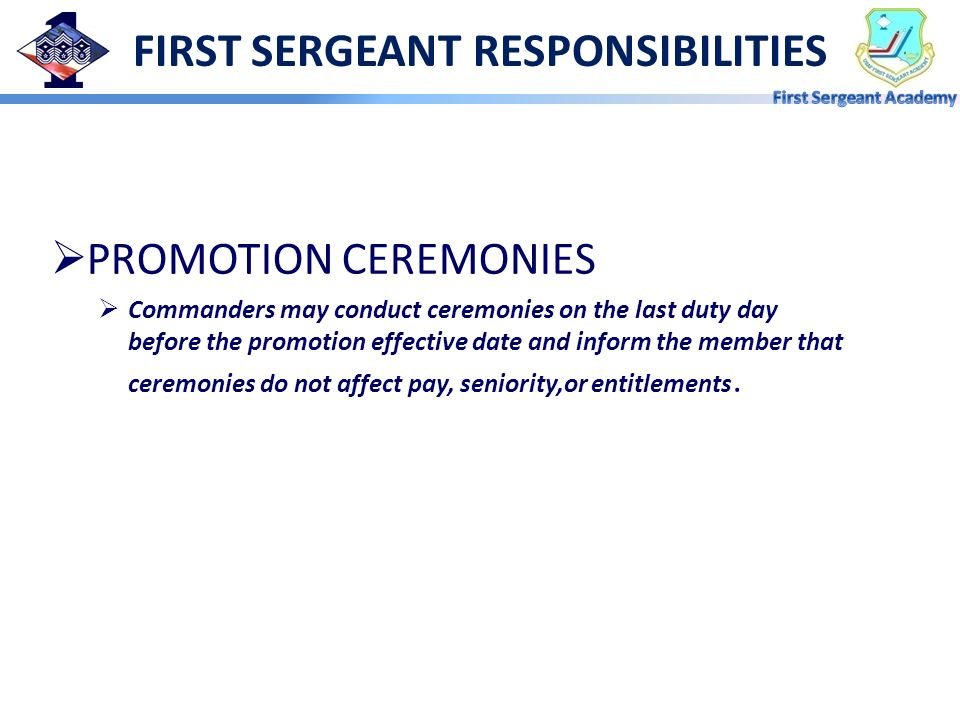 FIRST SERGEANT RESPONSIBILITIES
