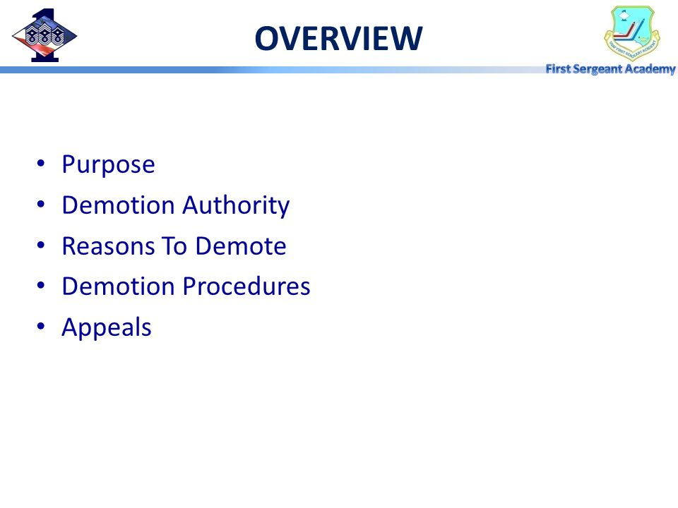 OVERVIEW Purpose Demotion Authority Reasons To Demote