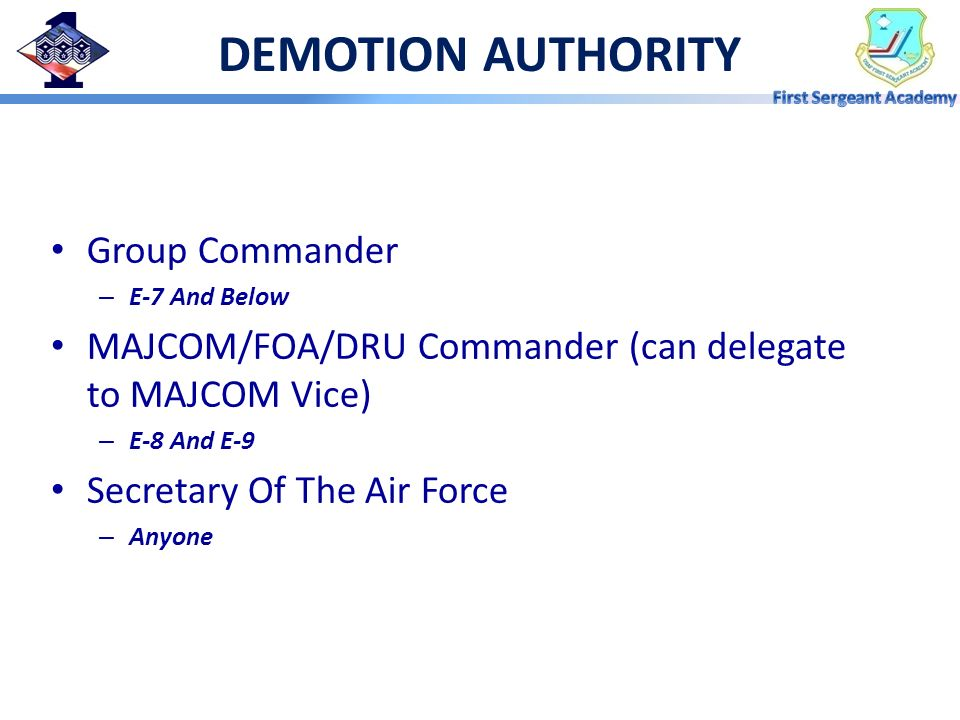 DEMOTION AUTHORITY Group Commander