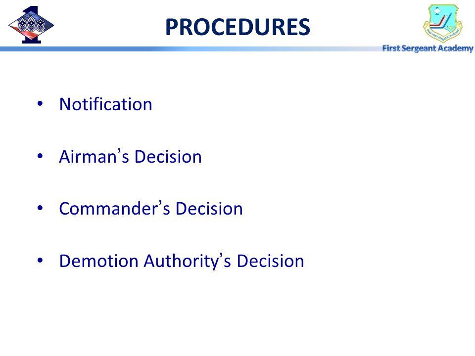PROCEDURES Notification Airman's Decision Commander's Decision