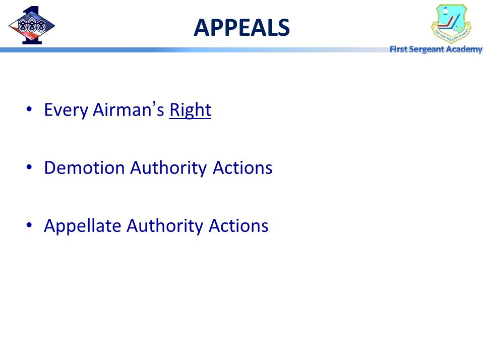 APPEALS Every Airman's Right Demotion Authority Actions