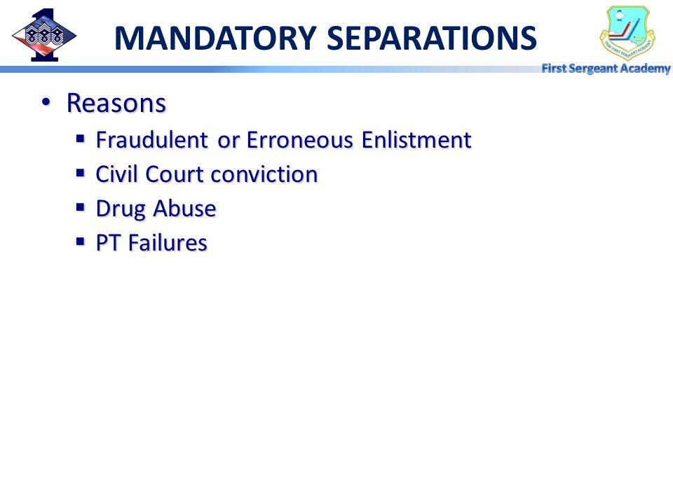 MANDATORY SEPARATIONS