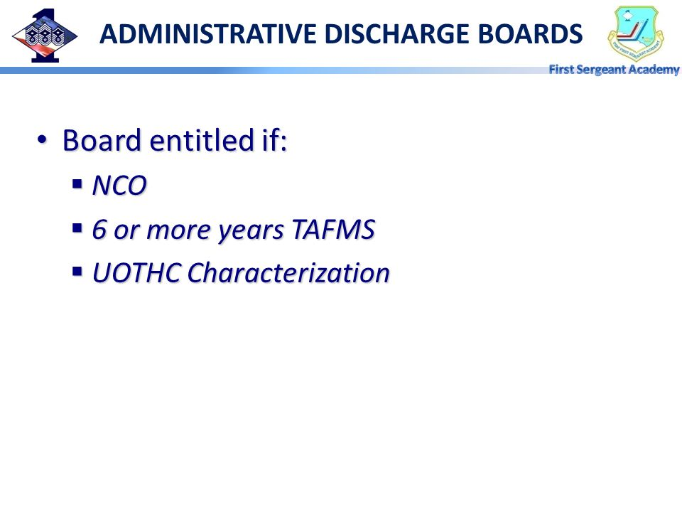 ADMINISTRATIVE DISCHARGE BOARDS