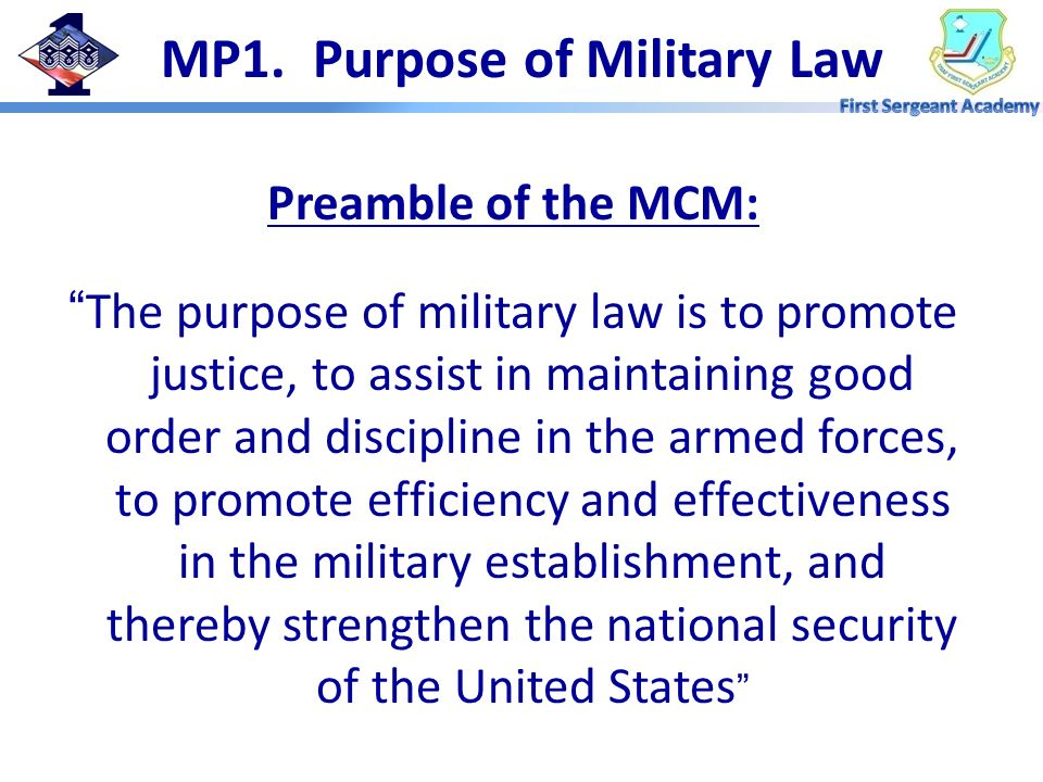 MP1. Purpose of Military Law