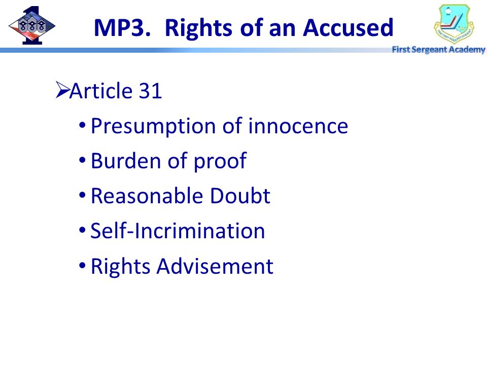 MP3. Rights of an Accused Article 31 Presumption of innocence