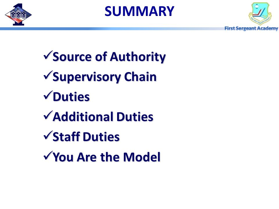 SUMMARY Source of Authority Supervisory Chain Duties Additional Duties