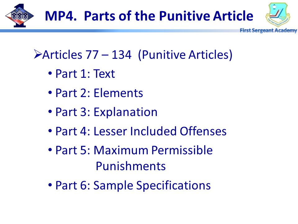 MP4. Parts of the Punitive Article