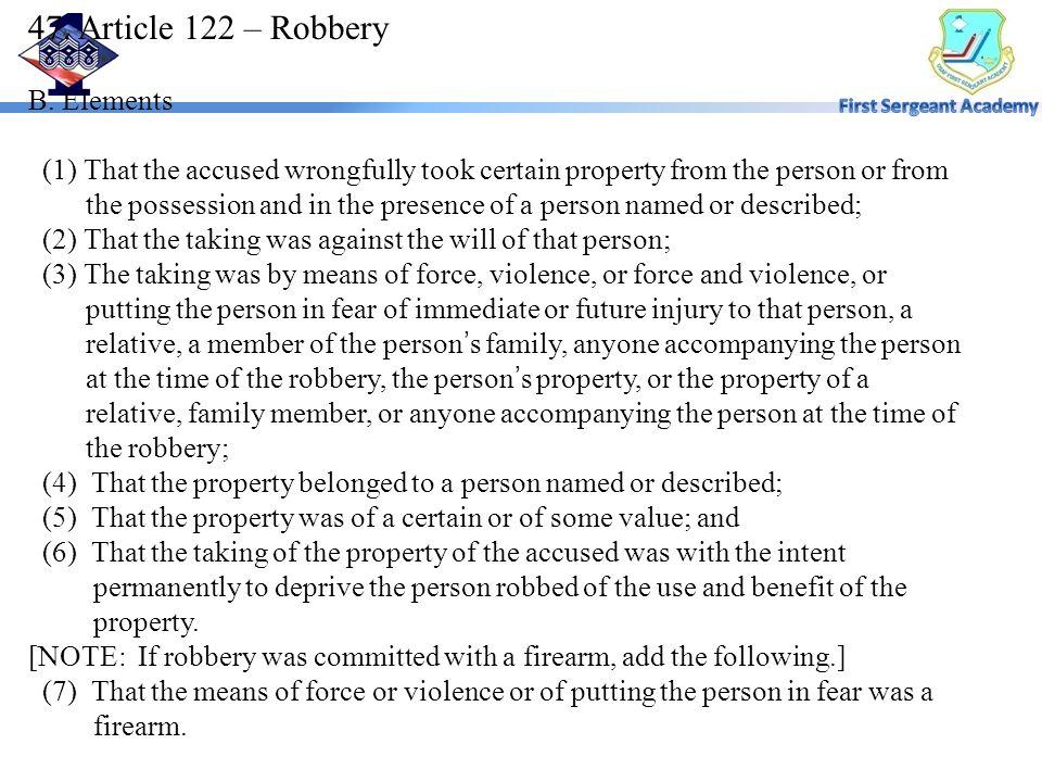 47. Article 122 – Robbery B.