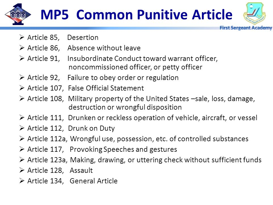 MP5 Common Punitive Article
