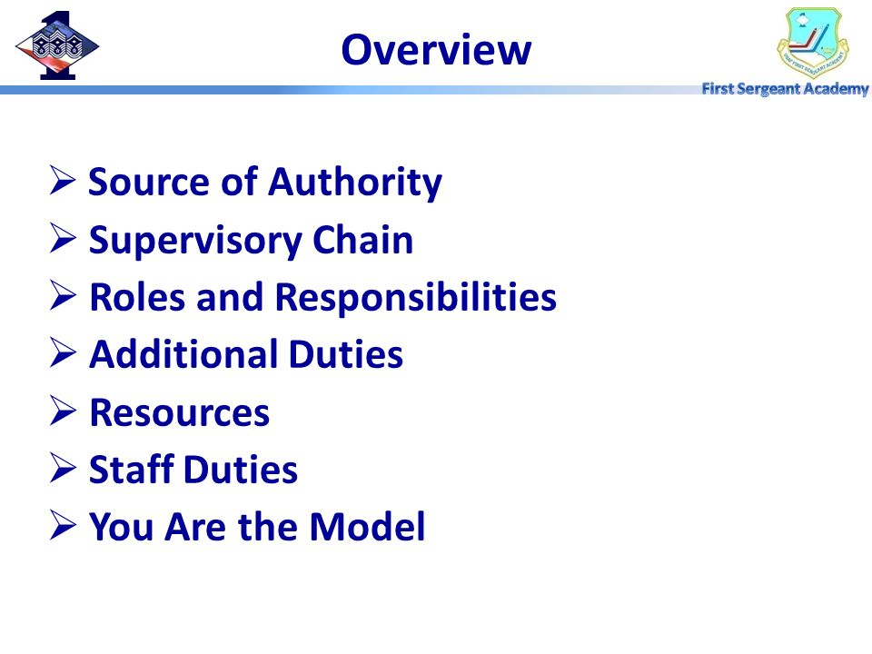 Overview Supervisory Chain Roles and Responsibilities