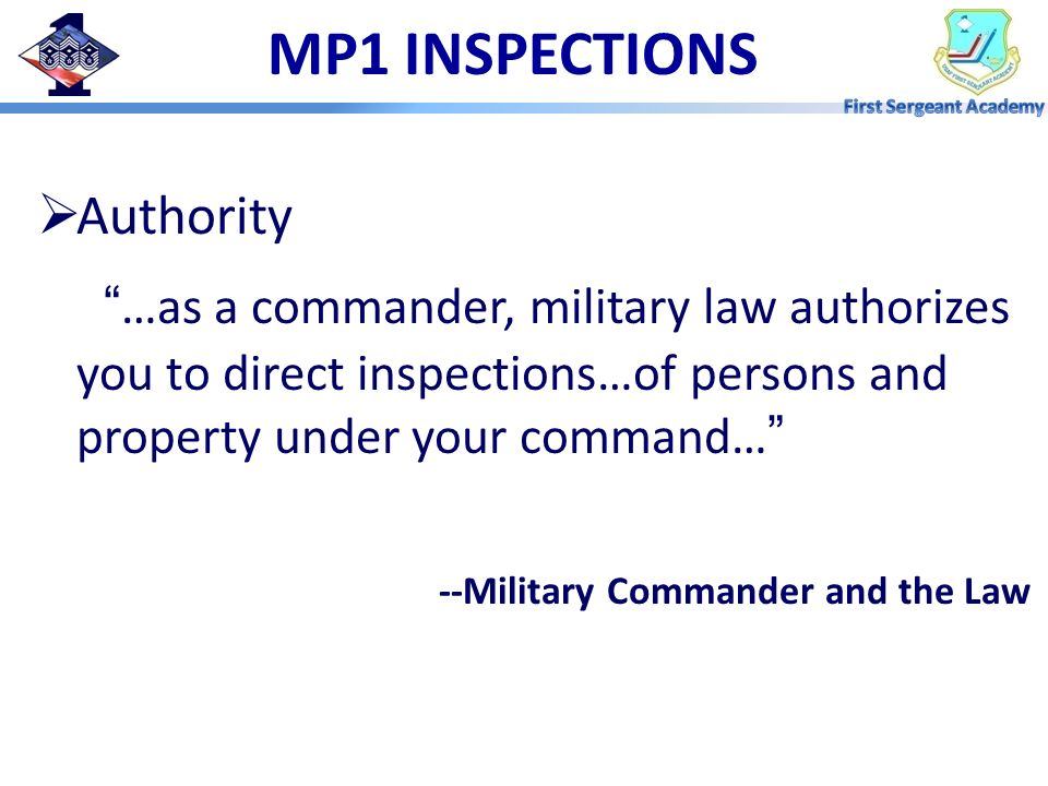 MP1 INSPECTIONS Authority