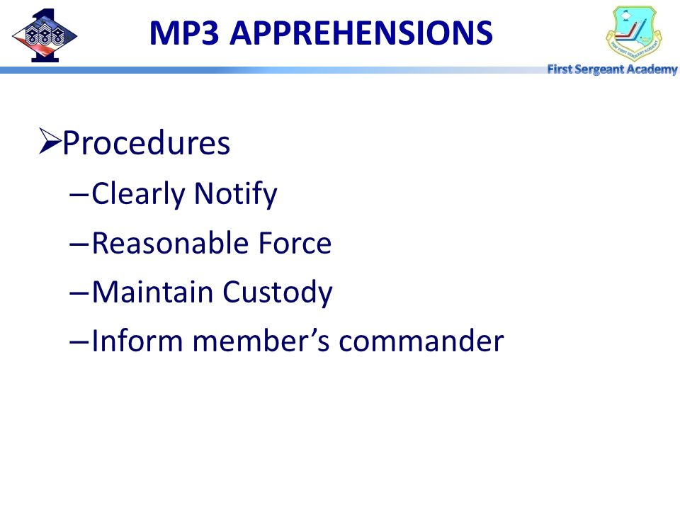 MP3 APPREHENSIONS Procedures Clearly Notify Reasonable Force