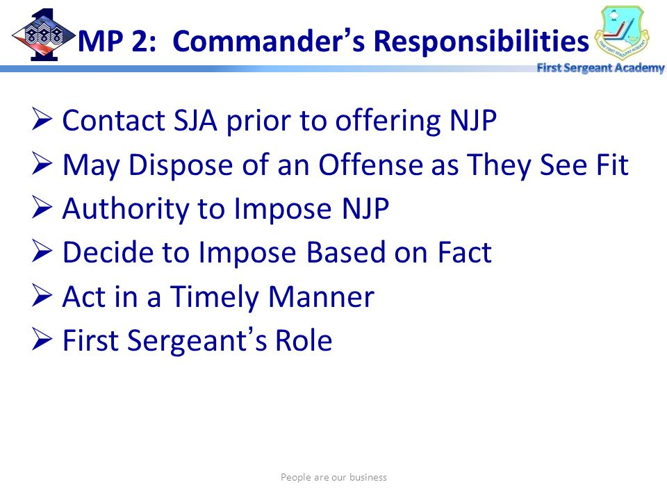 MP 2: Commander's Responsibilities