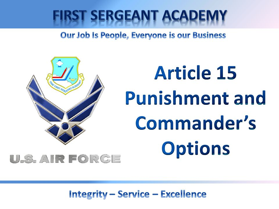 Article 15 Punishment and Commander's Options
