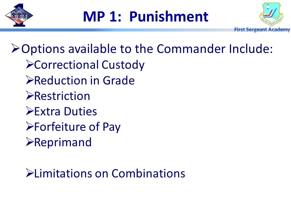 MP 1: Punishment Options available to the Commander Include: