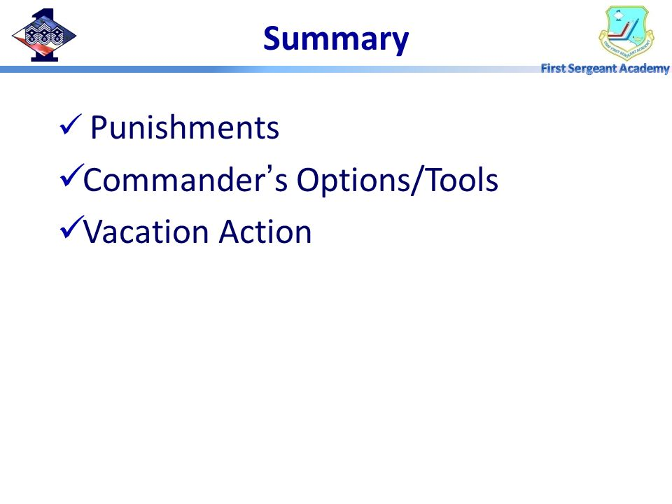Summary Punishments Commander's Options/Tools Vacation Action
