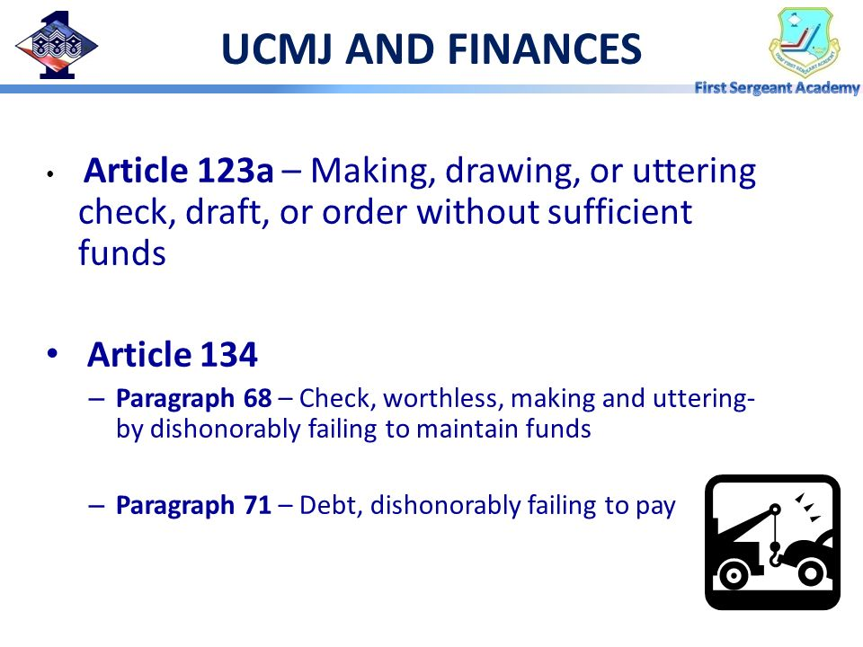 UCMJ AND FINANCES Article 134