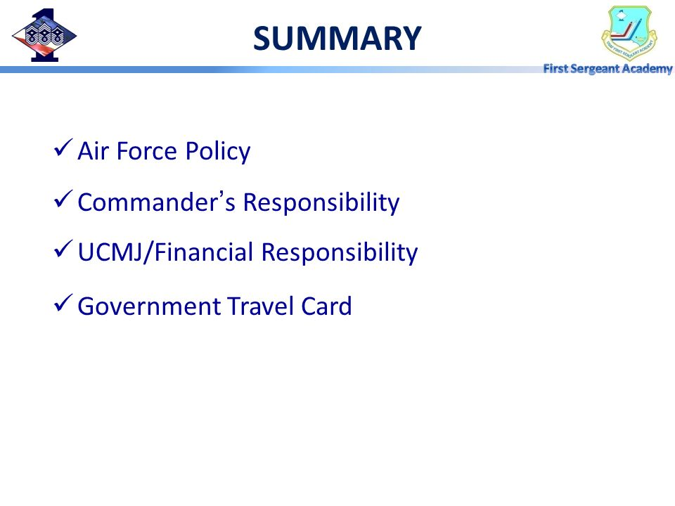 SUMMARY Air Force Policy Commander's Responsibility